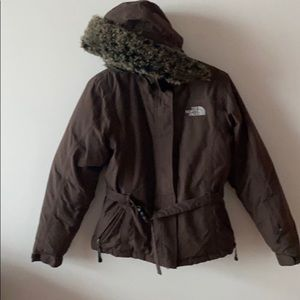 The North Face goose down puffy brown belted crop